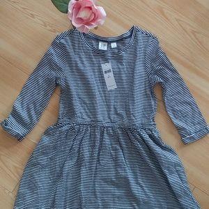NWT - Gap Kids Navy Blue White Striped Dress